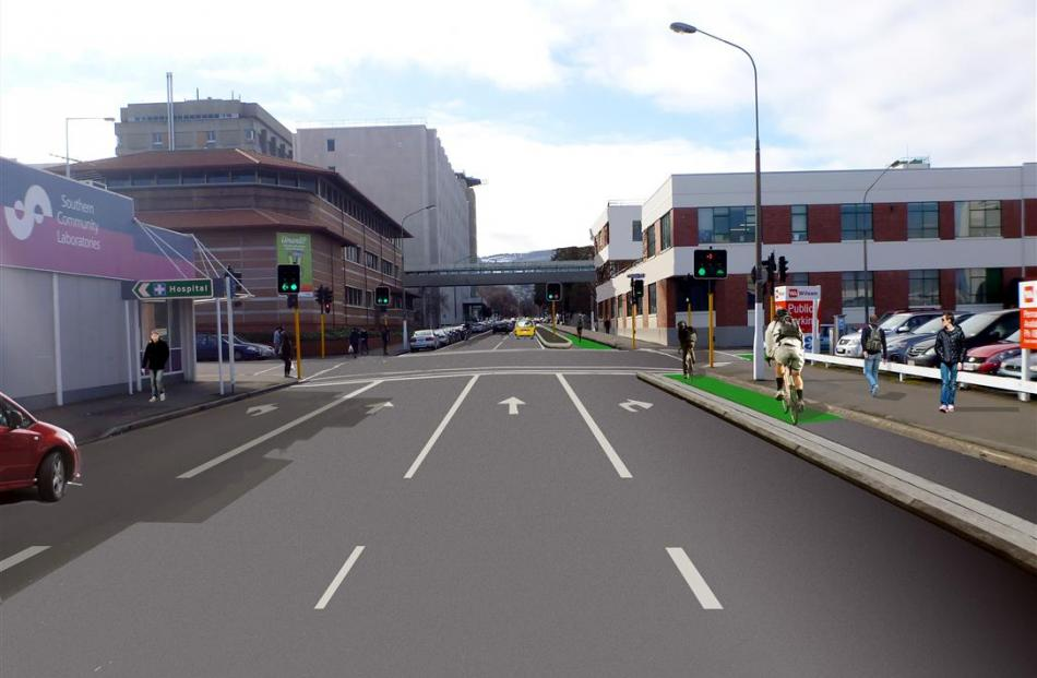 An artist's impression of the separated cycleways, showing Cumberland St as it approaches Dunedin...