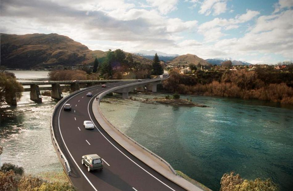 An artist's impression of a possible solution to a Kawarau Falls replacement bridge, which links...