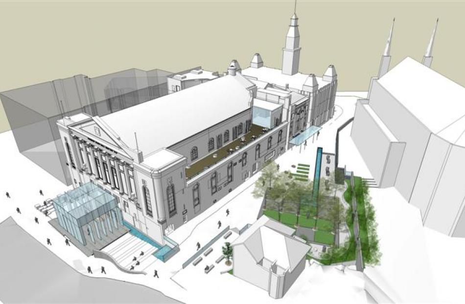 An artist's impression of the new design planned for exterior of the Dunedin Town Hall, with St...