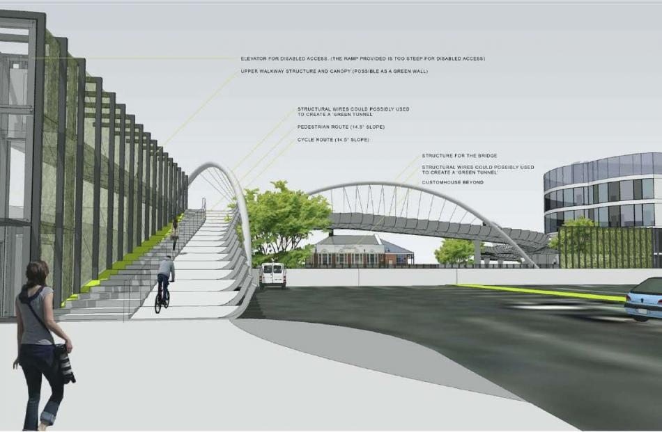 An artist's impression shows what the proposed pedestrian and cyclist bridge would look like when...