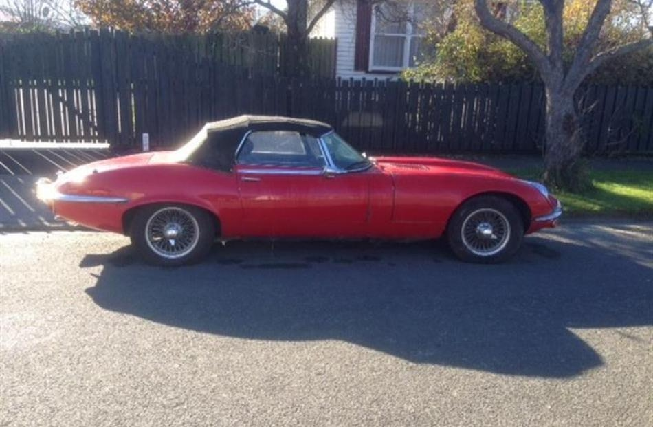 An E-Type Jaguar connected to Michael Swann was found in a Christchurch street on June 1.  Photo...