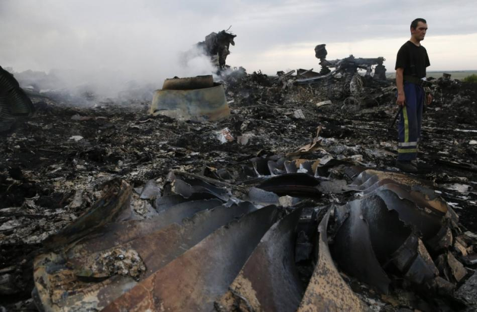 An Emergencies Ministry member walks at the site of a Malaysia Airlines Boeing 777 plane crash...