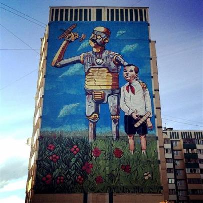An example in Kazan, Russia, of the work of Italian street artist Pixel Pancho, who is to paint...