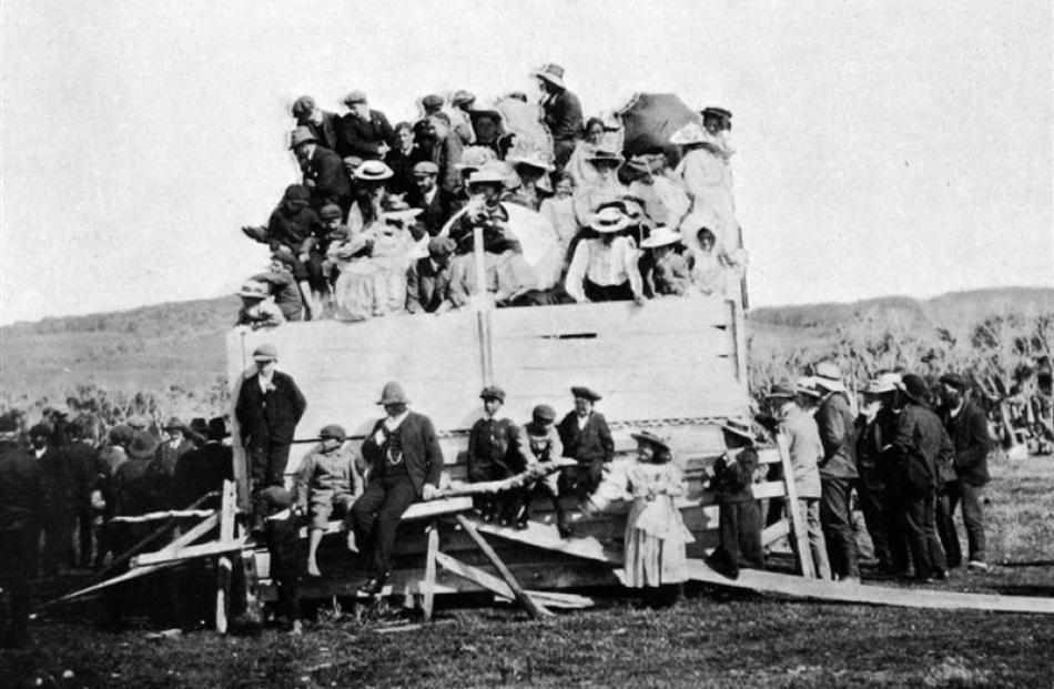 An improvised grandstand at the picnic race meeting at the Chatham Island racecourse. -  Otago...