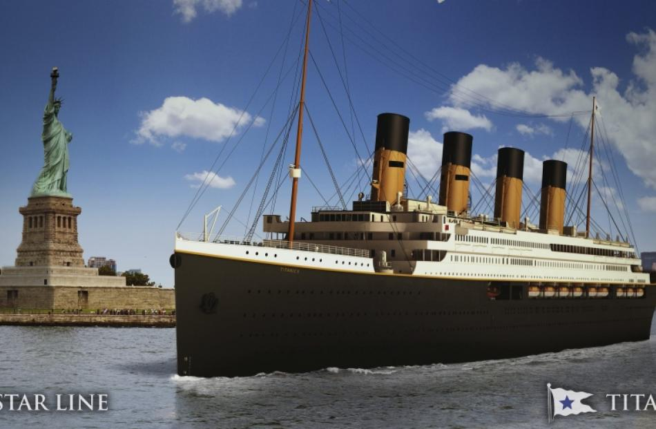 An undated artist's rendering of the proposed cruise ship Titanic II, provided by the Blue Star...