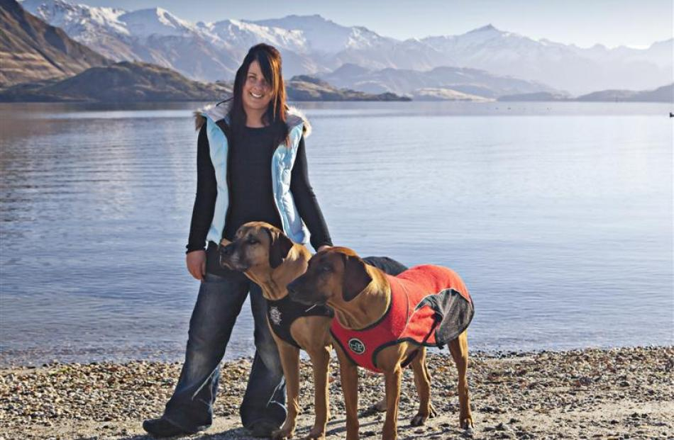 Angela Hook, with Jack and Annie, modelling some of the D-fa range of dog jackets. Photo by...