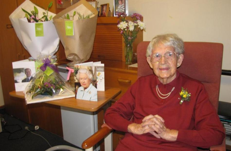 Anne Dickinson celebrates her 100th birthday at Wanaka's Elmslie House rest-home yesterday. Photo...