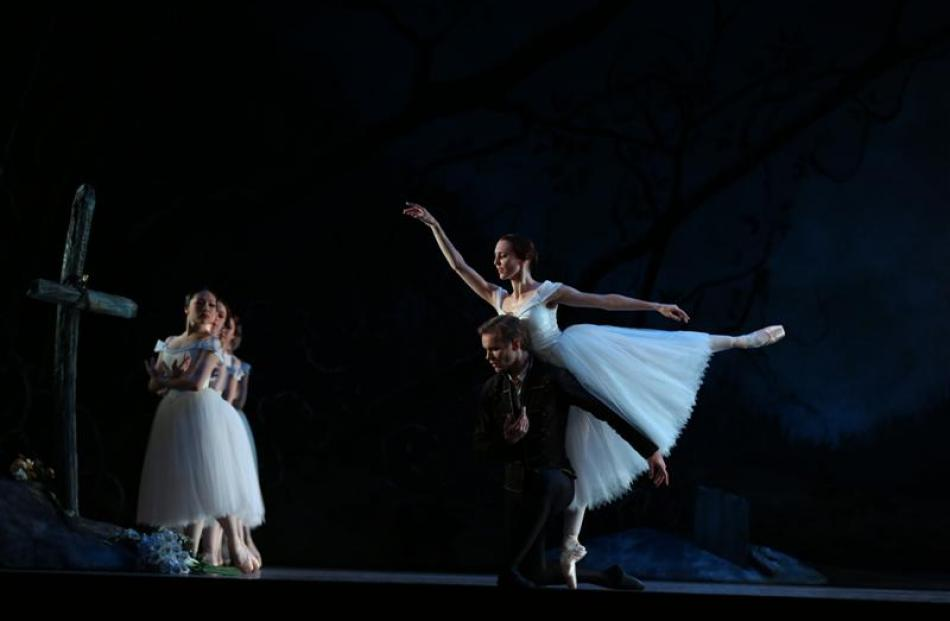 Antonia Hewitt, as Giselle, and Andrew Bowman, as Albrecht, the man responsible for breaking her...
