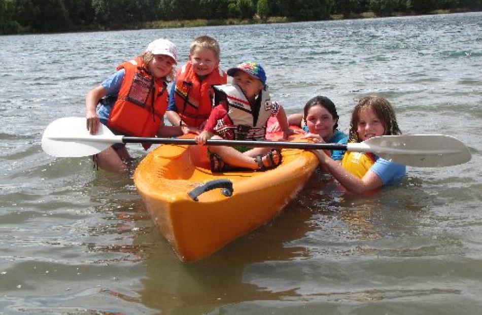 April Bonney (8, left), of Balclutha, Thomas Preston (6), of Christchurch, Oliver Preston (4), of...
