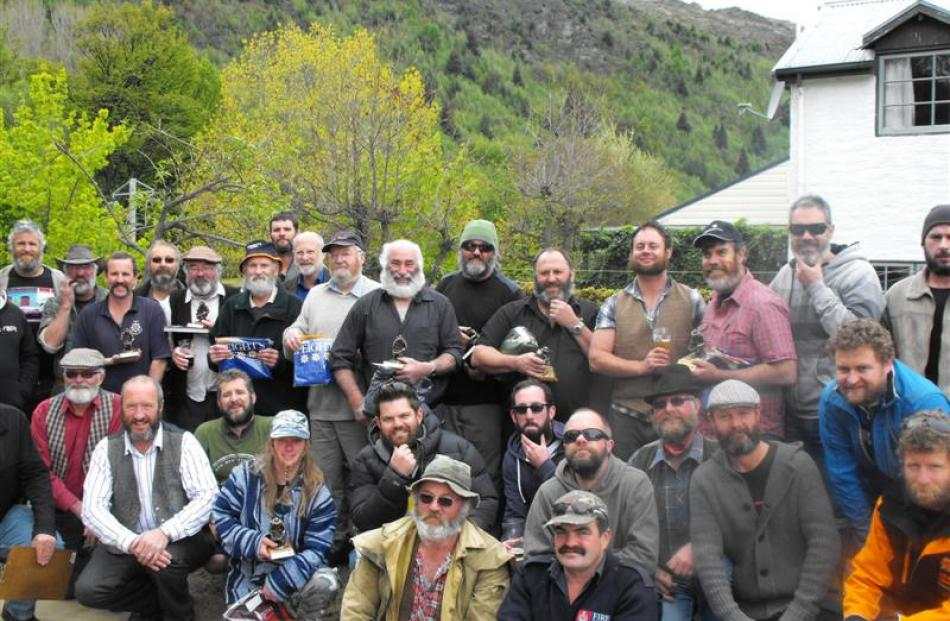 Arrowtown  beard-growers (left picture) with Glenorchy contestants (above). Photo by Olivia...