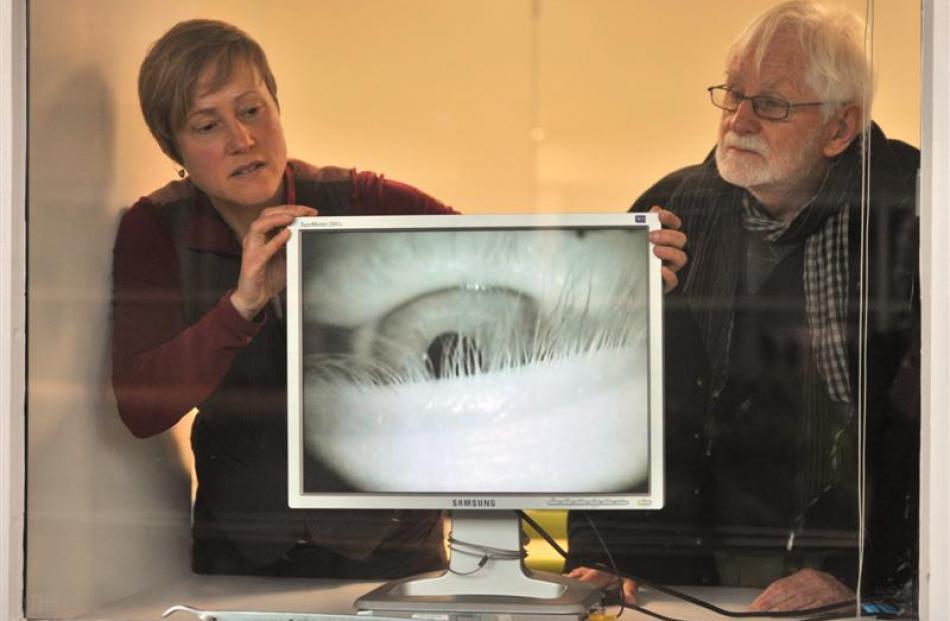 Artist Becky Cameron installs her video artwork, The Curious Eye, under the watchful eye of ''Art...