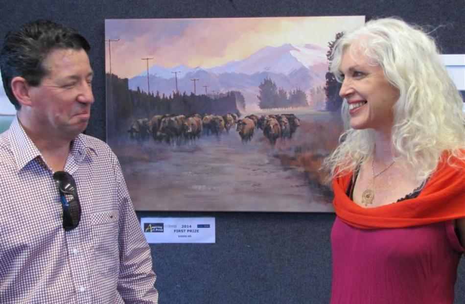 Aspiring Art Prize judges John Toomer, of Dunedin, and Anita De Soto, of Port Chalmers, share a...
