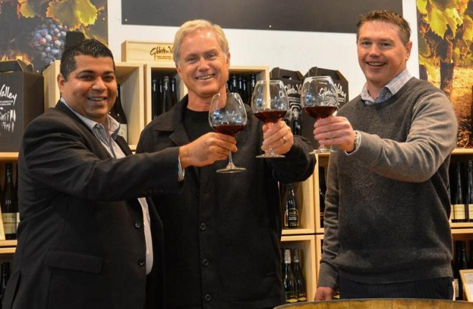 At Gibbston Valley Winery's new pop-up store in Queenstown Airport are (from left) LS Travel...