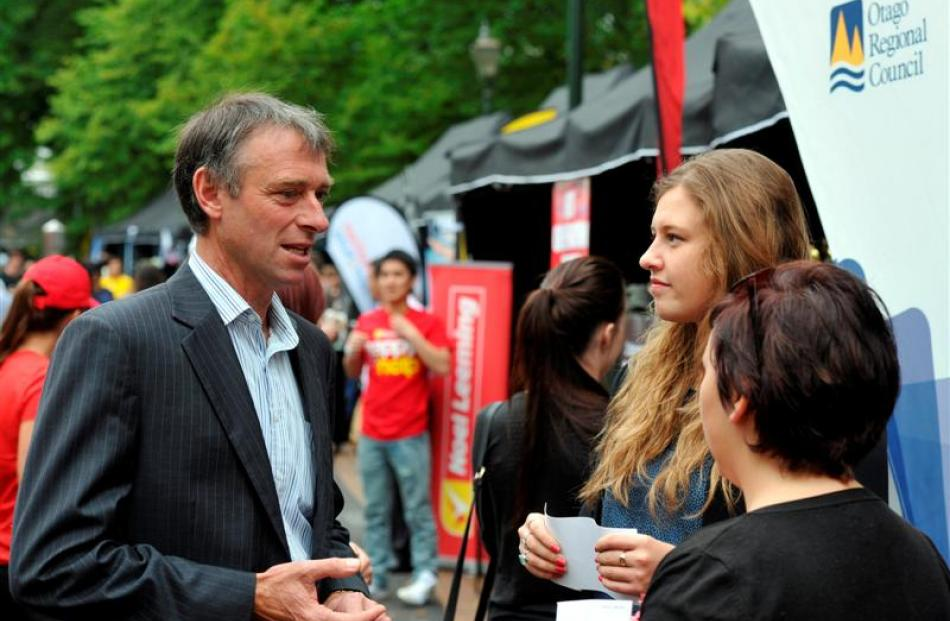 At the launch of a discount student bus fare trial at tent city yesterday are (from left)  Otago...