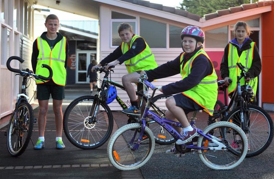 At the launch of their schools' Road Safety Action Plan yesterday are (from left) Tom Warman and...