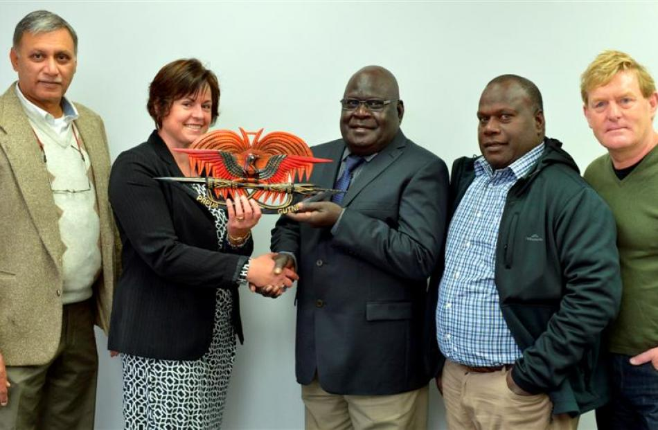 At the Otago Chamber of Commerce in Dunedin yesterday Bougainville governor Joe Lera (centre)...