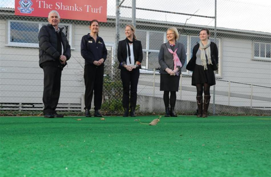 At The Shanks Turf at Queen's High School in Dunedin are (from left) Roy, Nicola, Alison, Kay and...