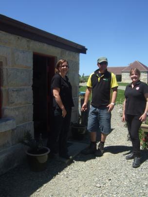 At Totara Estate (from leaf) visitor host Keren Mackay, visitor Cemil Clarke and historic estate...