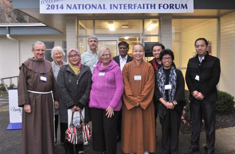 Attendees at the National Interfaith Forum (from left) Br Christopher John  (Australia, Christian...