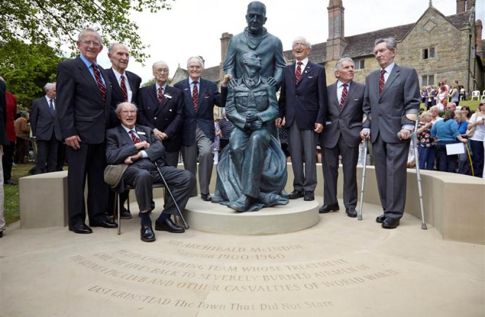 Attending the unveiling of a statue of pioneering plastic surgeon Sir Archibald McIndoe in East...