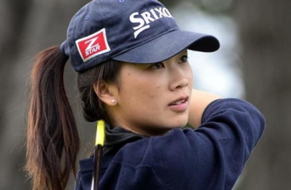 Auckland star Munchin Keh gets in a practice round at St Clair. Photos by Peter McIntosh.
