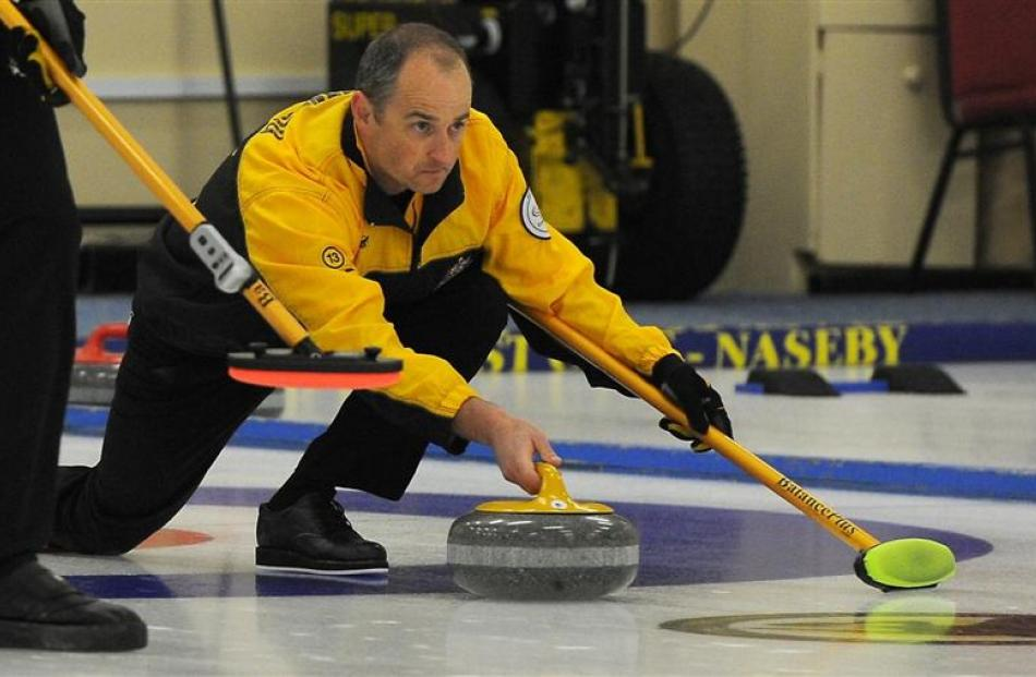 Australian acting skip Ian Palangio in action against Japan at the Asia and Pacific curling...
