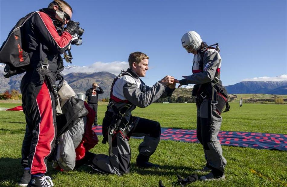 Australian couple Chris Bartram and Belinda Salem get engaged after skydiving in Queenstown....