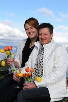 Australians Sandra Gibney (left) and Jo Christie after their civil union ceremony on the...