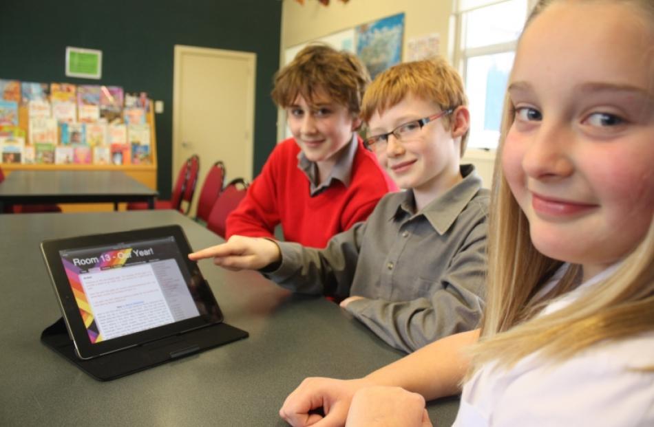 Balmacewen year 7 pupils (from front) Elena Robertson (12), Henry Eden-Mann (11) and Dmitri...