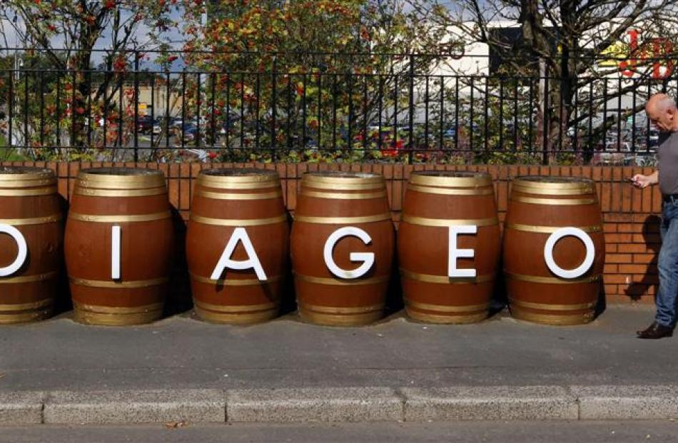 Barrels outside the Diageo Shieldhall facility near Glasgow, Scotland.  The company is among...