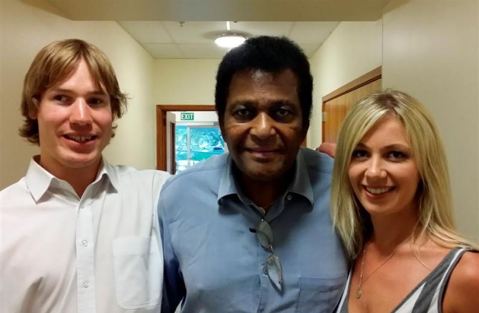 Bevan Gardiner (left), Charley Pride and Georgie Daniell pictured before last night's concert at...