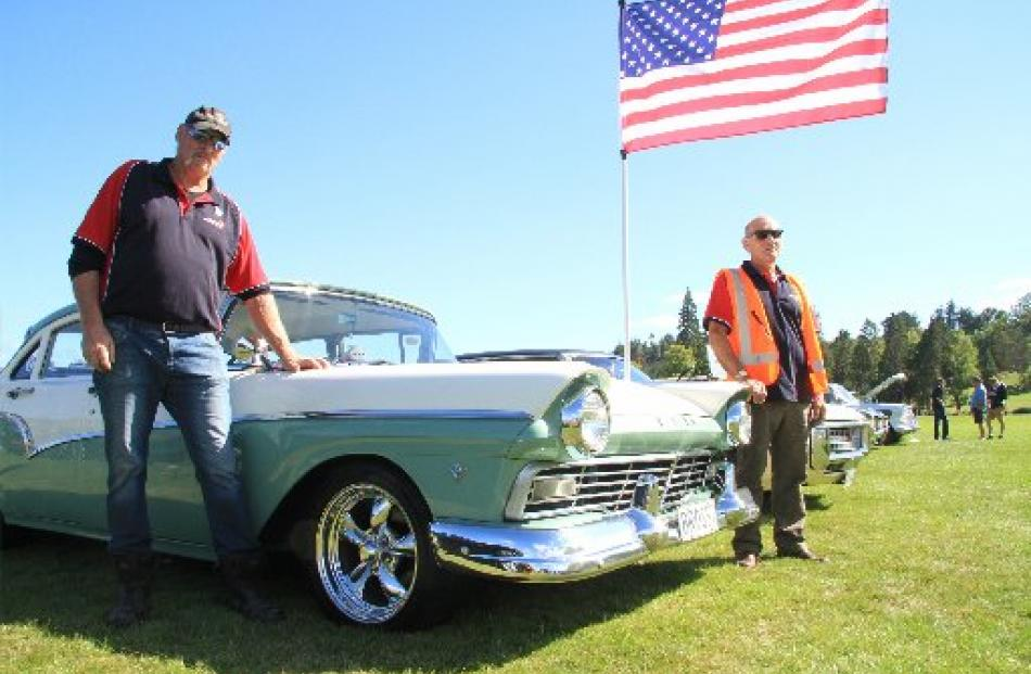 Bill Bazley with his 1957 Ford Custom 300 and Tom Henderson (right). Photo by Hamish MacLean.