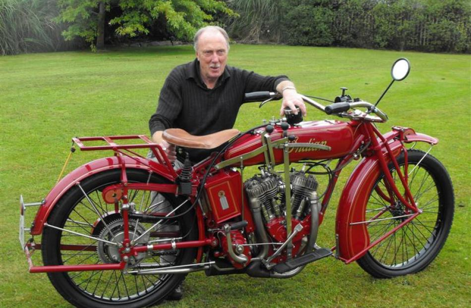 Bill Veitch, of Mosgiel, with his 1920 Indian Powerplus motorcycle before the 21st rally of the...