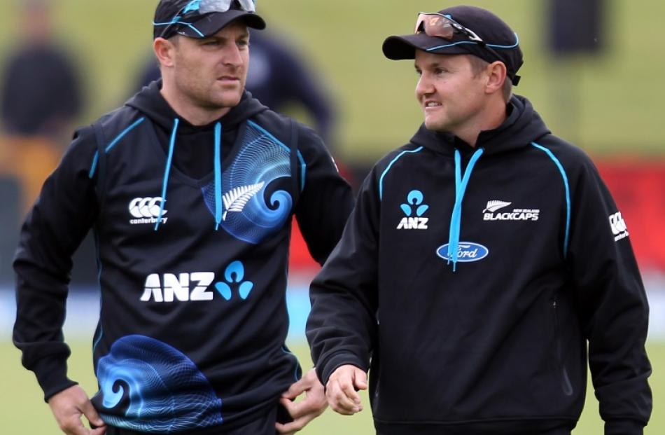 Black Caps captain Brendon McCullum and coach Mike Hesson. Photo by Getty.