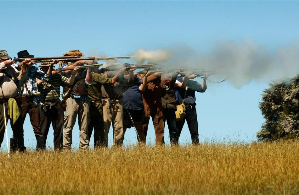 Black powder enthusiasts (from left) Brian Kelly, of Greymouth, Grant Wilkins, of Kaiapoi, Neil...