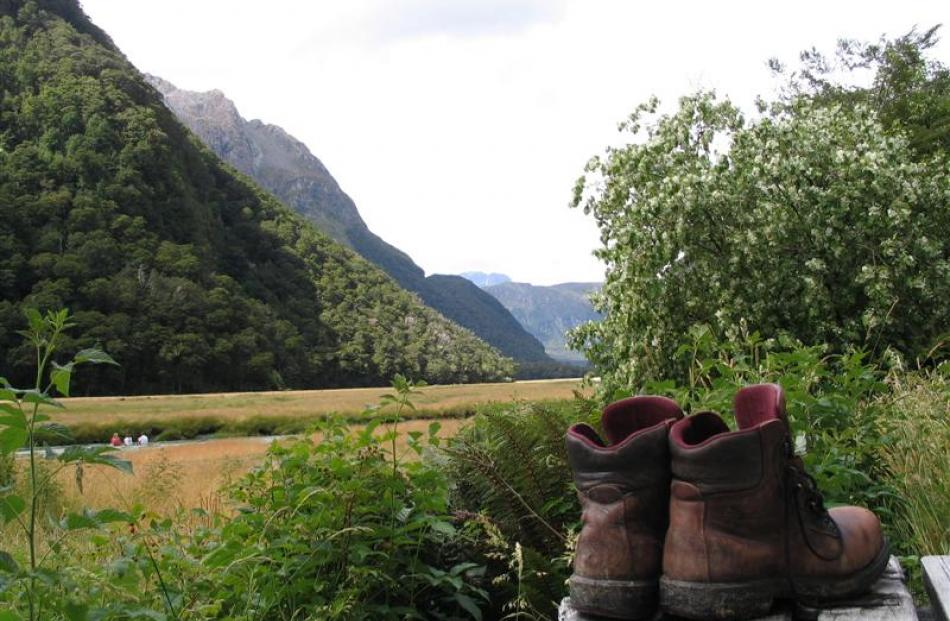 Boots dry out at a Routeburn Track hut after a hard day's tramping. Photos from ODT files.