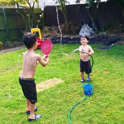 Boys having fun with water today. Photo Dianne McDonald