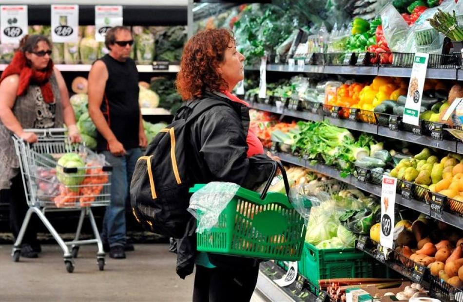 Brenda Mcewing looks at the fruit and vegetables on display at Veggie Boys in Cumberland St,...