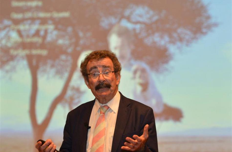 British medical researcher Lord Robert Winston addresses Southern secondary school pupils at...