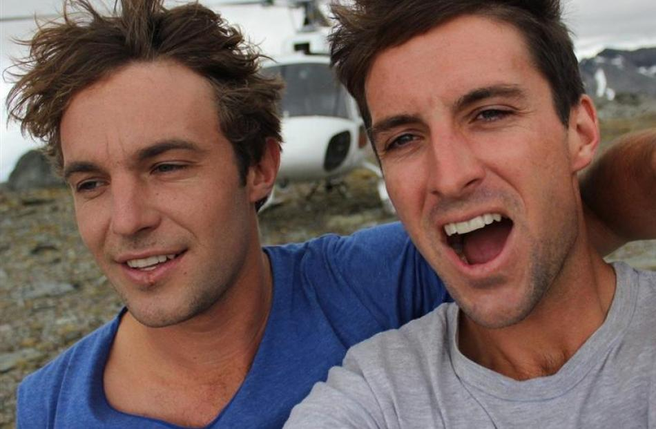 Brothers Marko (left) and Alex Ayling, of San Diego, in Queenstown late last year, and during a...