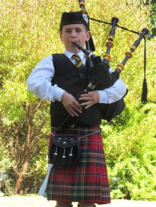 Callum Bishop (11), of Oamaru takes part in the piping competition at the Waimate Caledonian...