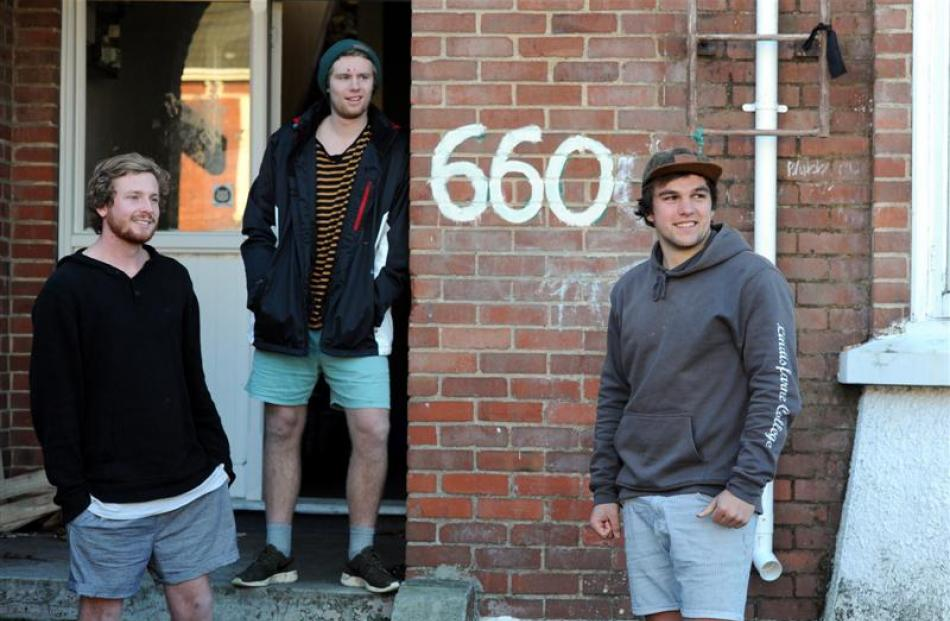 Castle St residents (from left) Aidan Waterhouse, Josh Stewart and Hamish Boult say couch-burners...