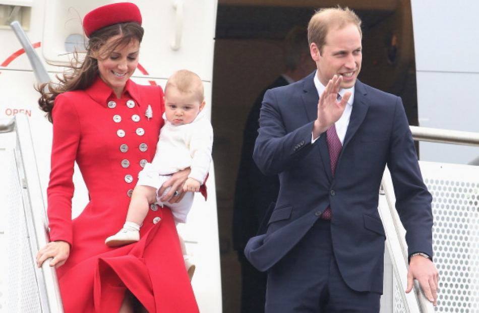Catherine, Duchess of Cambridge, Prince William and Prince George arrive at Wellington Military...
