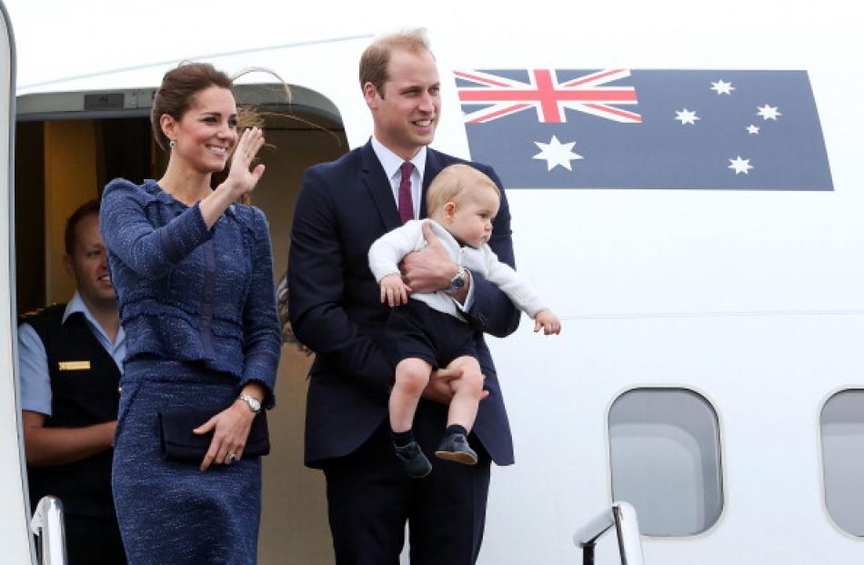 Catherine, Duchess of Cambridge, Prince William, Duke of Cambridge and Prince George of Cambridge...