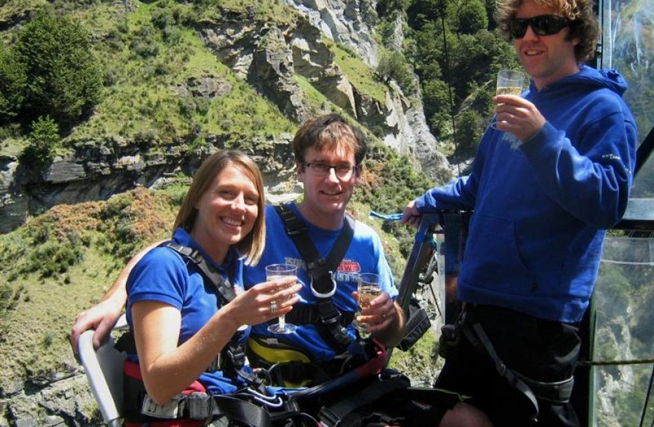 Celebrating Shotover Canyon Swing's 10th birthday with the company's new ''Cheer Chair'' tandem...