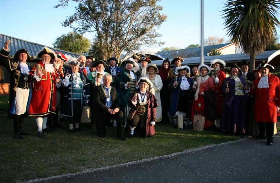 Central Otago Mayor Tony Lepper (centre left) and Central Otago town crier Paddy-Ann Pemberton ...