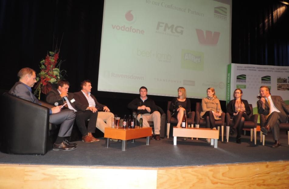 Chairing a panel discussion on the future of farming is Ashburton identity Alister Body (far left...