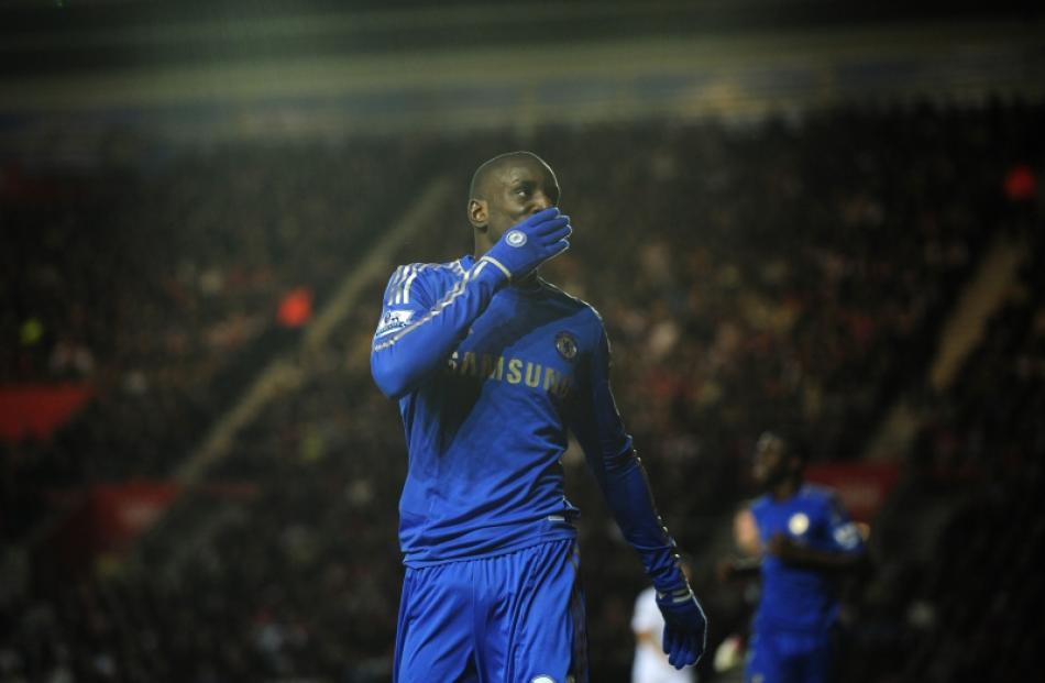 Chelsea's Demba Ba celebrates after scoring a goal during their FA Cup soccer match against...