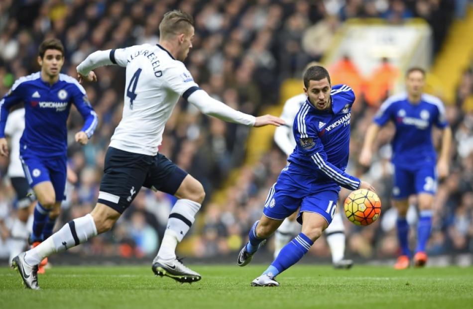 Chelsea s Eden Hazard in action with Tottenham s Toby Alderweireld. Photo   Reuters 9f3162b11e565