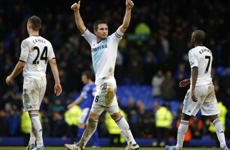 Chelsea's Frank Lampard (centre) reacts after their English Premier League soccer match against...